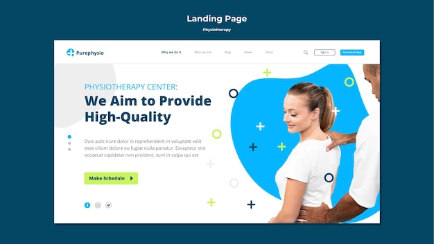 Physiotherapy concept landing page template