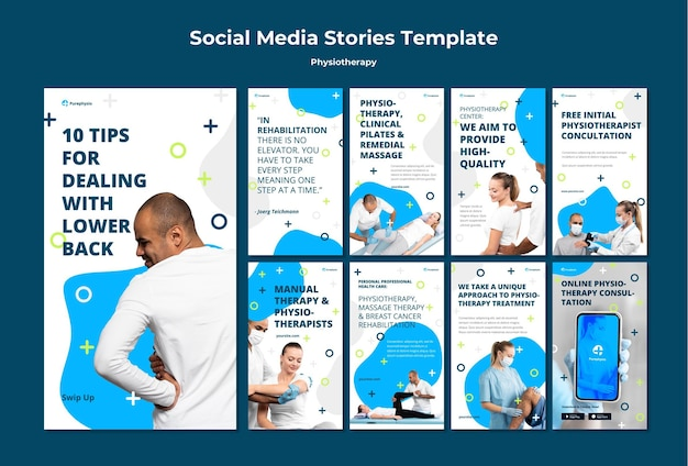 Physiotherapy concept social media stories template