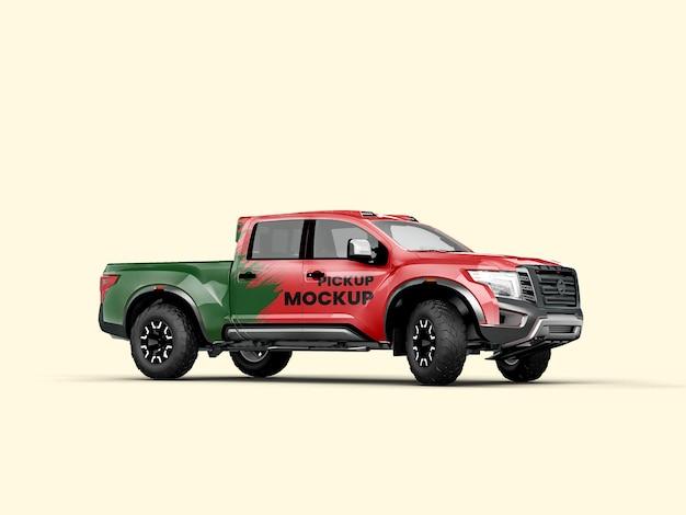 Pickup truck 3d view mockup 3d rendering