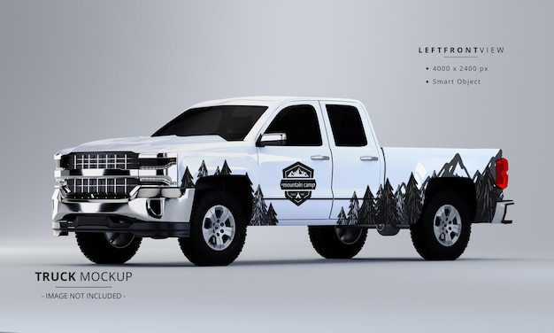 Pickup truck mock up from left front view