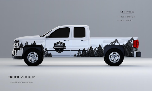 Pickup truck mock up from left side view