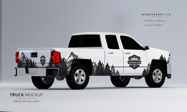 Pickup truck mock up from right rear view