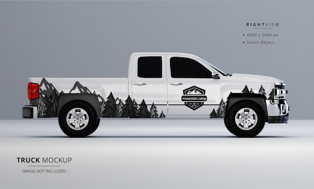 Pickup truck mock up from right side view