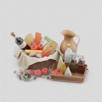 Picnic basket with food 3d render
