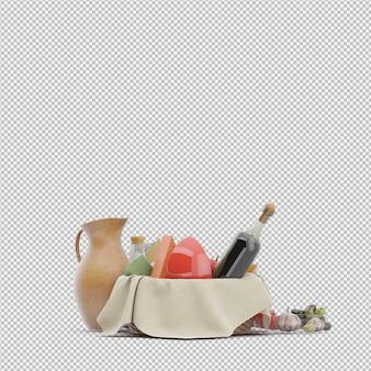 음식 3d 렌더링 피크닉 바구니