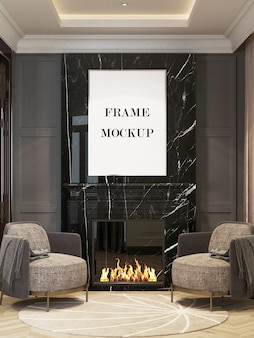 Picture frame above fireplace in luxury interior 3d rendering mockup