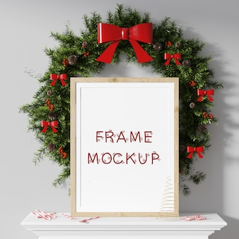 Picture frame in front of the new year's circle with a bow 3d rendering mockup