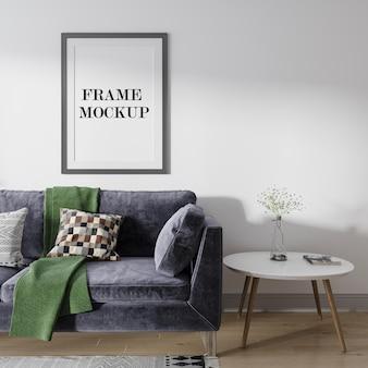 Макет фоторамки над темно-синим диваном