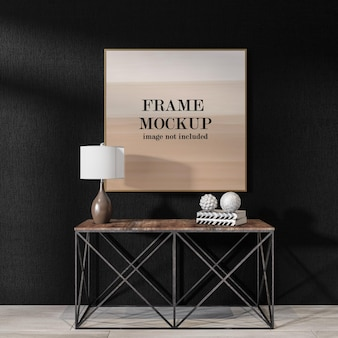 Picture frame mockup on black wall