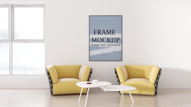 Picture frame mockup on an empty wall