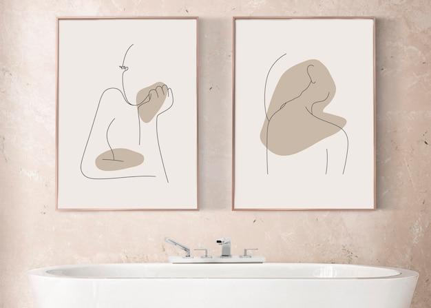 고급 욕실 홈 장식 인테리어에 매달려 있는 액자 모형