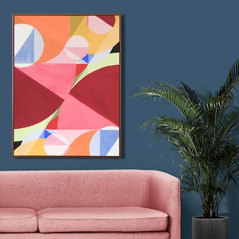 Picture frame mockup  hanging in retro living room home decor interior