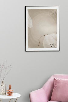 Picture frame mockup psd by a pink velvet armchair