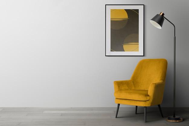 Фоторамка макет psd висит в современной гостиной домашний декор интерьер