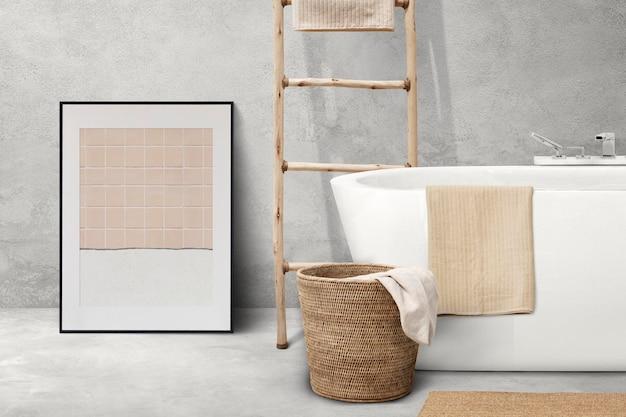 Mockup di cornice per foto psd appeso in un bagno japandi