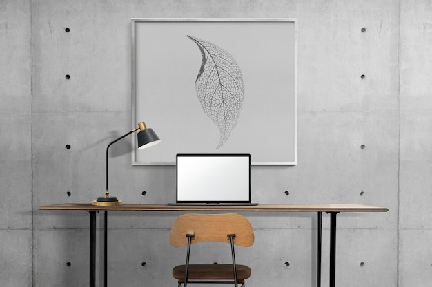 Picture frame mockup psd hanging in a loft home office