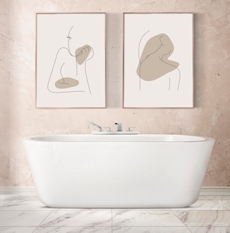 Picture frame mockup psd hanging in luxury bathroom home decor interior