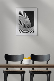 Picture frame mockup psd hanging in modern dining room home decor interior