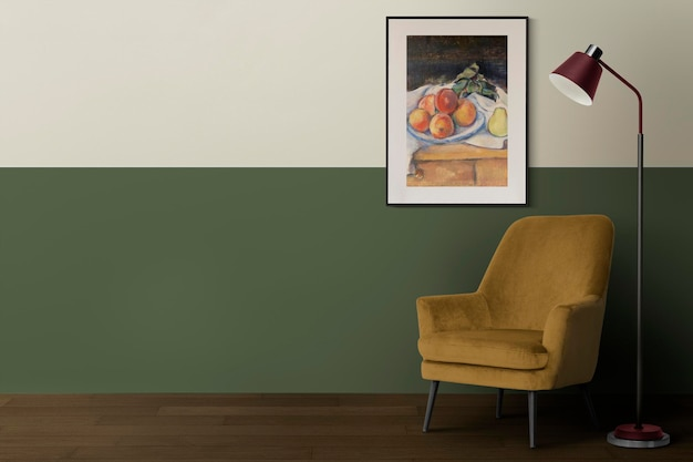 Picture frame mockup psd hanging in modern living room home decor interior