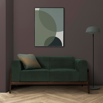 Picture frame mockup psd hanging in a modern living room