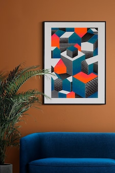 Picture frame mockup psd hanging in retro living room home decor interior