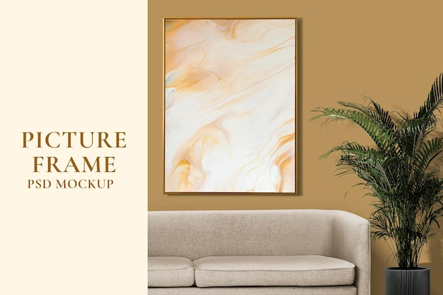 Picture frame mockup psd hanging in retro living room home decor
