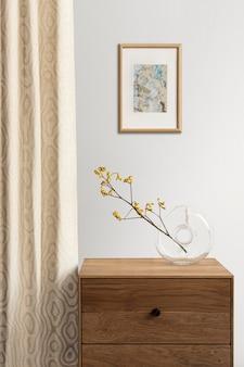 Cornice per foto mockup psd appesa al muro design d'interni minimal