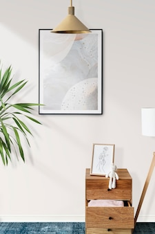 Picture frame mockup psd in a kids room