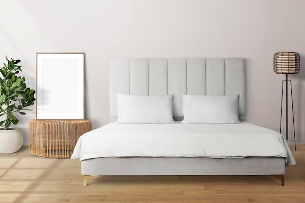 Макет фоторамки psd, опираясь в минималистском интерьере домашнего декора спальни