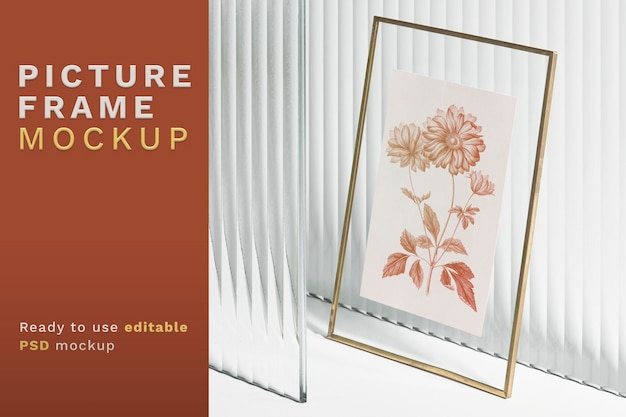Picture frame mockup psd with gold frame
