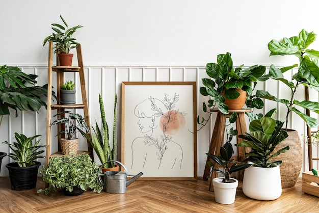 Picture frame mockup psd with line art by a houseplant corner on a parquet floor