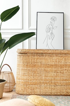 Picture frame mockup  on a rattan chest