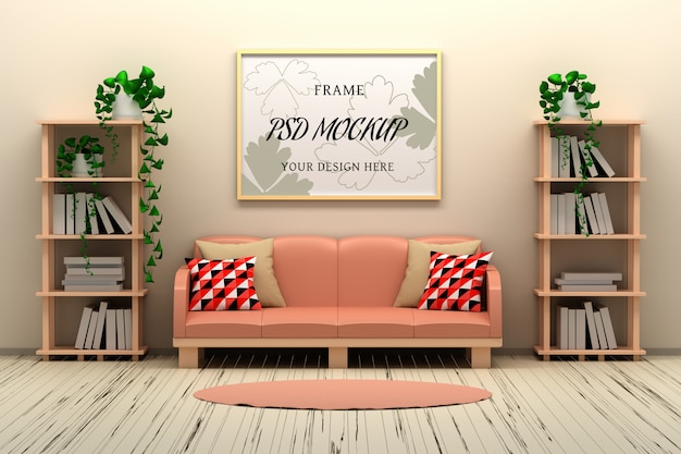 Picture frame mockup on the wall in country style room interior
