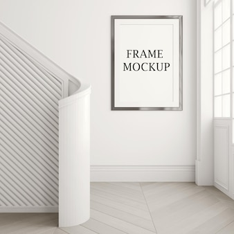 Picture frame mockup on white wall in 3d rendering