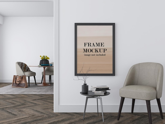 Picture frame mockup on white wall