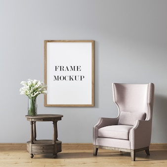 Picture frame mockup with vintage furniture in room  3d rendering