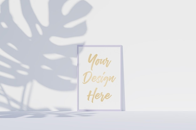 Picture frame mockup with white paper and monstera leaves shadow