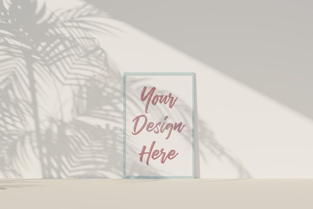 Picture frame mockup with white paper and tropical leaves shadow