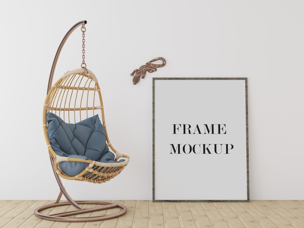 Picture frame next to wicker swing