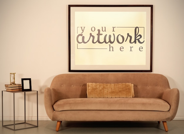 Picture on wall in vintage room mockup