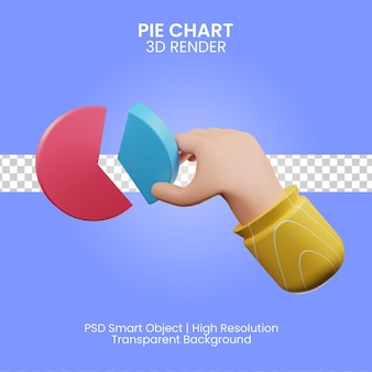 Pie chart icon 3d render isolated