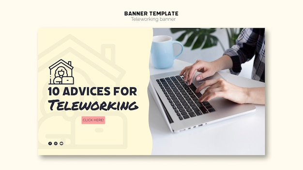 Pieces of advice for teleworking banner template