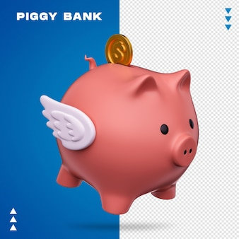 Piggy bank in 3d rendering isolated