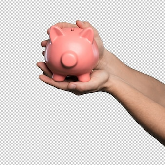 Piggy bank over white background