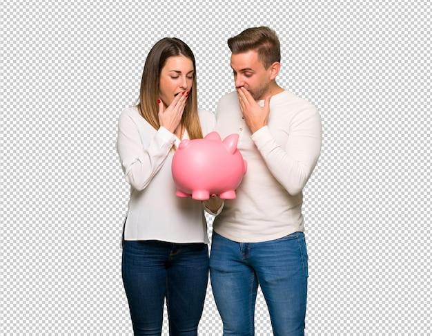 バレンタインの日にpiggybankを押しながら驚いたカップル