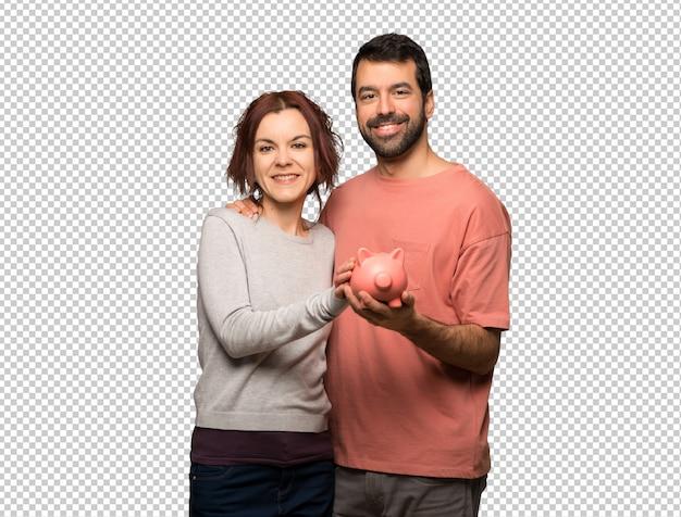 バレンタインの日にpiggybankを保持しているカップル