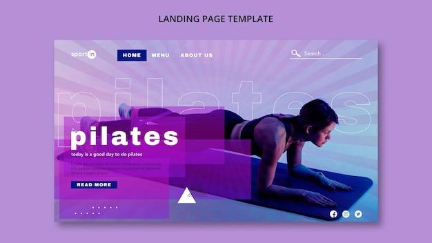 Modello di landing page di allenamento per pilates