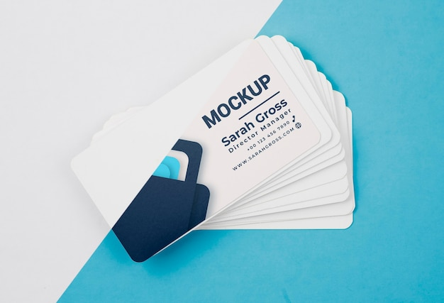 Pile of blue business cards mock-up