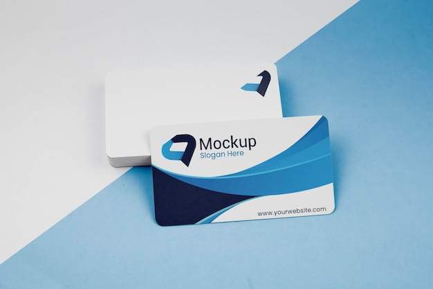 Pile of copy space blue business cards mock-up
