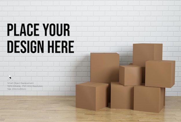 Куча картонных коробок с дизайном макета белой кирпичной стены